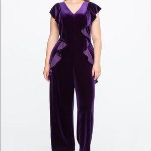 Eloquii Ruffle Front Jumpsuit Purple Velvet 18